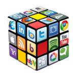 Social media logos on Rubik's Cube