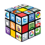 Social media logos on Rubik's Cube